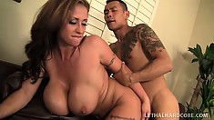 Trampy brunette MILF with monstrous titties gets some Asian in her