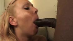 Sexy slim blonde Julie Knight welcomes a huge black stick up her ass
