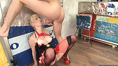 Busty blonde in fetish undies gets her face and ass fucked hard