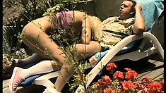 Buxom blonde teen Britney gets her lovely twat banged deep by the pool