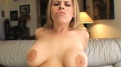 Gorgeous blonde with massive naturals gets plowed by a black dick