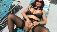 Busty redhead MILF takes a brutal banging from some thick dark meat