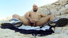 These handsome gay hunks love to play at the beach with their cocks
