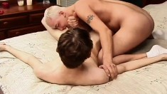 Twink gets his ass drilled, they do sixty-nine and go back to the ass